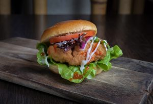 Asian Buns chicken burger and fries
