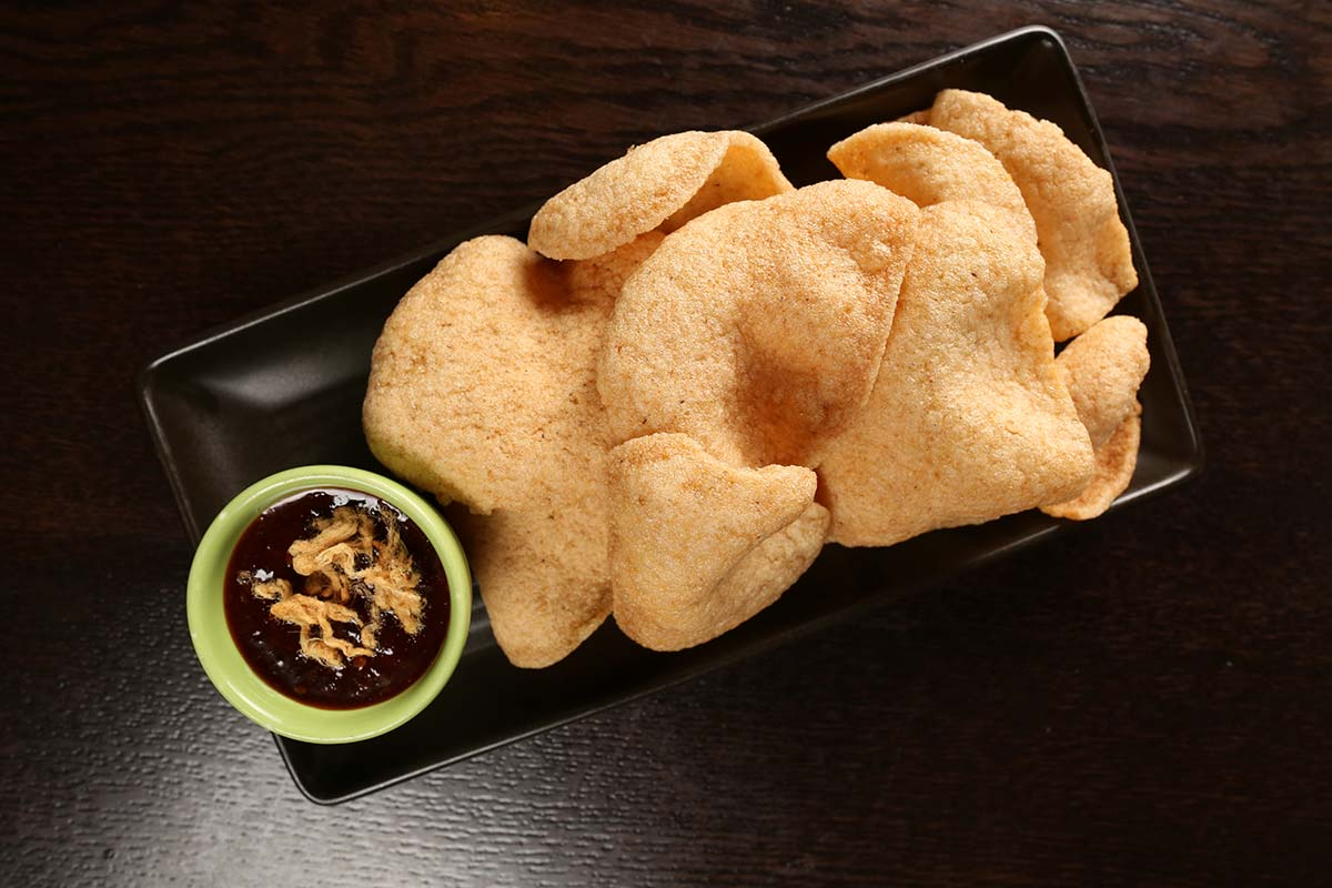 Prawn Crackers with Chilli Jam and Pork Floss at Viet