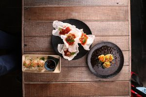 Viet dishes on wooden table